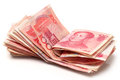 China renminbi on white background Royalty Free Stock Photos