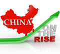 China on the Rise - Country Map on Arrow Stock Image