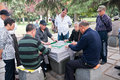 China s elderly people in later life june hangzhou west lake playing mahjong enjoy Royalty Free Stock Images