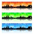 China skyline set silhouette artwork Stock Image