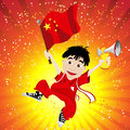 China Sport Fan with Flag and Horn Royalty Free Stock Photos