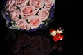 China style Wedding Doll and a bouquet of flowers Royalty Free Stock Photo
