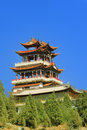 China Temples pavilions and sky Stock Photo