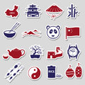 China theme color stickers vector set