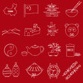 China theme red and white outline icons set Royalty Free Stock Photo