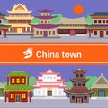 China town tileable border with traditional buildings vector illustration Royalty Free Stock Photos