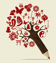 China tradition concept pencil tree orient symbols chinese design vector illustration layered for easy manipulation and custom Stock Photo