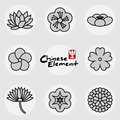China traditional floral icons pattern set Royalty Free Stock Photo