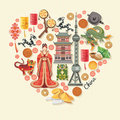 China travel vector illustration. Chinese set with architecture, food, costumes, traditional symbols in vintage style. Chinese tex Royalty Free Stock Photo