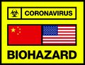 China and USA United States Novel Coronavirus, 2019-nCoV, Biohazard Poster. Attention Sticker.