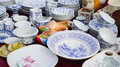 China ware different kinds of porcelain retro design and traditional shapes flea market Royalty Free Stock Photo