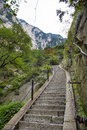China the way to top of mountain hua huashan is a precipitous in this is Stock Image