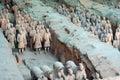 China/Xian:Terracotta Warriors and Horses Royalty Free Stock Photo