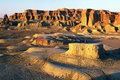 China/Xinjiang: Urho Ghost Castle during sunset Royalty Free Stock Photo
