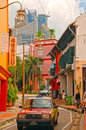 Chinatown district in singapore dec colorful chinese shops on street of on december s buildings Royalty Free Stock Photo