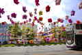Chinatown mid autumn festival singapore september with colorful flower lanterns decorations in the new bridge road niu Stock Image