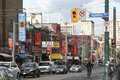 Chinatown toronto street view in canada it is one of the largest chinatowns in north america and chinese canadian communities in Stock Photo