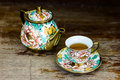 Chinaware tea pod and small drinking bowls Royalty Free Stock Photo