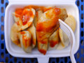 Chines dumpling on a fork Royalty Free Stock Photo