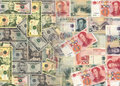 Chinese and American currency Stock Images