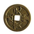 Chinese ancient coin with clipping path Stock Image
