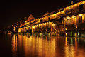 Chinese ancient town at night the buildings nearby the river are so old but really beautiful Stock Image