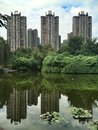 Chinese apartment buildings with beautiful lake Royalty Free Stock Images