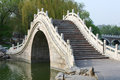 Chinese arch bridge traditional in longtanhu park at beijing china Royalty Free Stock Photography