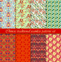 Chinese asian seamless vector pattern background set. Traditional ornament. Royalty Free Stock Photo