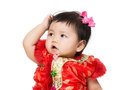 Chinese baby feel curiosity isolated on white Royalty Free Stock Photo