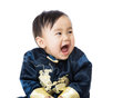 Chinese baby giggle isolated on white Royalty Free Stock Photography