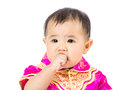 Chinese baby girl suck finger into mouth isolated on white Stock Images