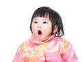 Chinese baby girl yawn isolated on white Royalty Free Stock Photo