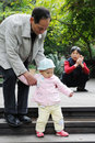Chinese baby learn to walk Stock Images