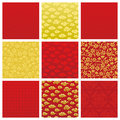 Chinese backgrounds set of in pattern vector illustration Stock Photography
