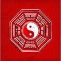 Chinese Bagua symbol on red Stock Photography