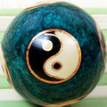 Chinese ball for relaxation on bamboo background Royalty Free Stock Image