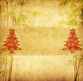 Chinese bamboo trees with texture of handmade paper Royalty Free Stock Photo