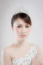 Chinese beauty with professional makeup in photography studio Royalty Free Stock Image