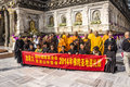Chinese believers at mahabodhi temple buddhist standing in front of india Royalty Free Stock Photos