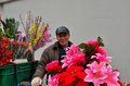 Chinese bicycle flower vendor on street shanghai china february an old man selling artificial flowers from his the flowers deck Royalty Free Stock Photos