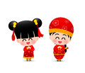 Chinese boy and chinese girl cartoon have smile and happy for ha