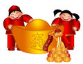 Chinese Boy and Girl with Big Gold Bar with Snake Royalty Free Stock Photos