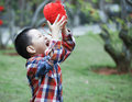 Chinese boy playing red lantern chinese lunar new year Royalty Free Stock Photos