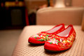 Chinese bridal shoes in traditional wedding Stock Image