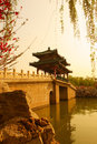 Chinese bridge in lake traditional longtanhu park at beijing china Stock Photography