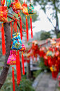 Chinese brocaded sachets for blessing colorful were hung on branches as a sort of traditional custom by people praying at chengdu Stock Image