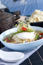 Chinese broth with poached egg Royalty Free Stock Photography