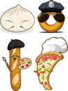 Chinese Bun, French Bread, Pizza & Doughnut Royalty Free Stock Photography