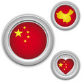Chinese Buttons with heart, map Stock Photography